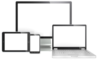 Responsive Web Design. Devices No branded. Copy space.