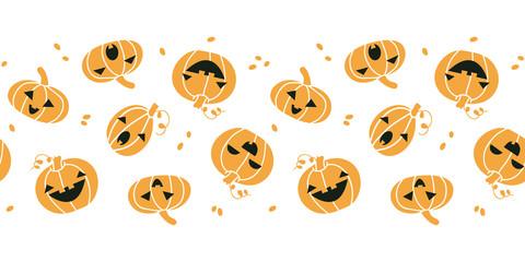 Smiling Halloween pumpkins horizontal seamless pattern