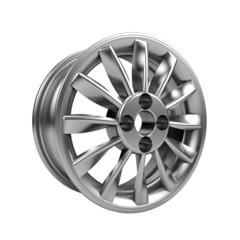 Polished chrome rim wheel on white