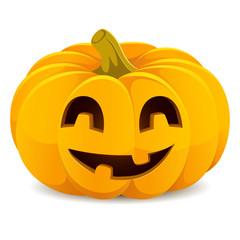 Halloween pumpkin. Smiling Jack-O'-Lantern on a white background