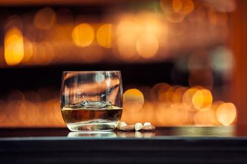 Whiskey on wood bar
