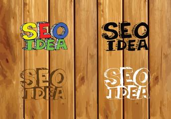Seo Idea SEO Search Engine Optimization on wood background plank