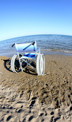 wheelchair to ensure the mobility of disabled people on the beac