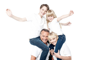 Cheerful family over white background