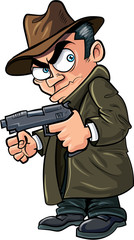 Cartoon gangster with a gun and hat