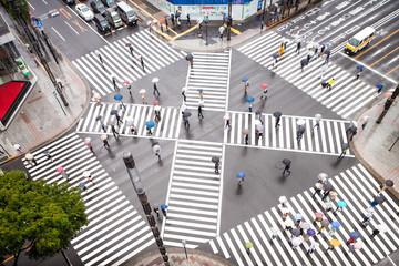 Fototapete - Straßenkreuzung in Tokyo