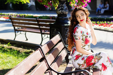 Beautiful girl  in city center