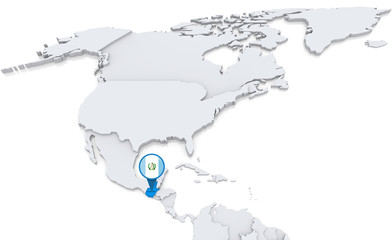 Guatemala on a map of North America