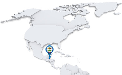 Belize on a map of North America