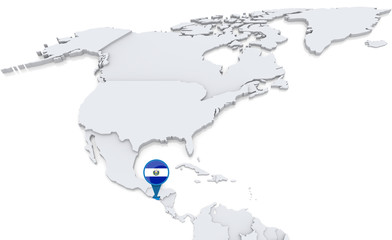 Salvador on a map of North America