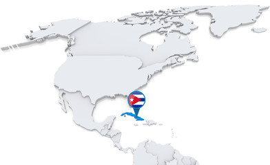 Cuba on a map of North America