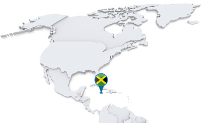 Jamaica on a map of North America