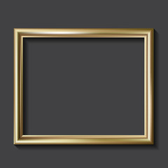 Simple golden picture frame, vector illustration