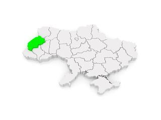 Map of Lviv region. Ukraine.