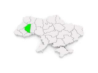 Map of Ternopil region. Ukraine.