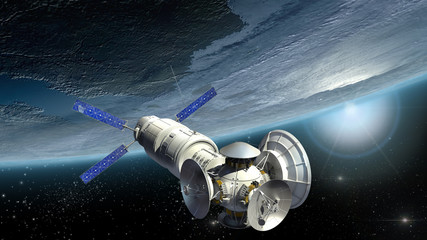 Satellite, spacelab or spacecraft surveying Earth