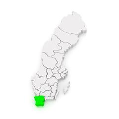Map of Skane. Sweden.