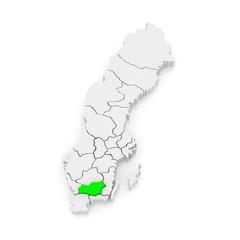 Map of Vaxjo. Sweden.