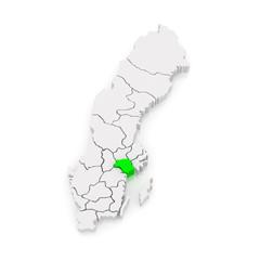 Map of Sodermanland. Sweden.