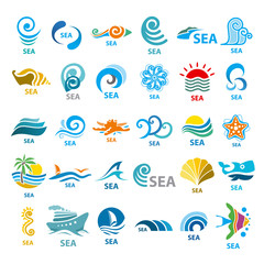 Big collection of vector logos sea