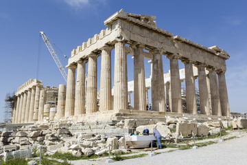 Ancient temple Parthenon in Acropolis Athens Greece