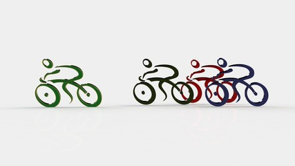 3d white people racing cyclist , isolated white background