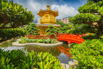 Pagoda style Chinese architecture in garden
