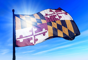 Maryland (USA) flag waving on the wind