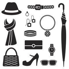 Women fashion accessories silhouette icons vector set