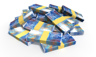 Swiss Franc Notes Scattered Pile