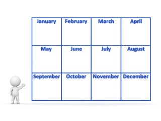3D Character showing Year Calendar with 12 Months