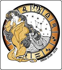 Virgo zodiac sign.Horoscope circle.Vector Illustration