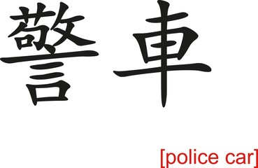Chinese Sign for police car
