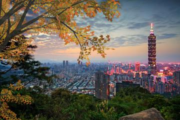 Taipei, Taiwan evening skyline