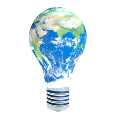 Light bulb with planet Earth in place of glass