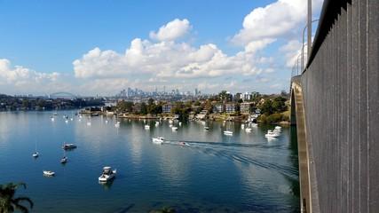 Fototapete - Gladesville Marina and Sydney CBD