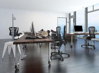 Contemporary minimalist office interior