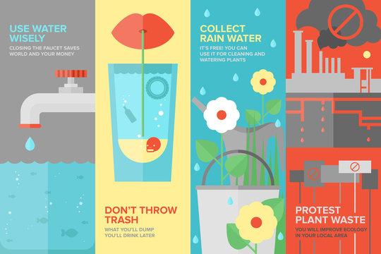 Water savings flat banner set