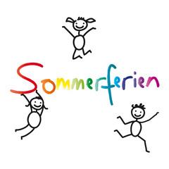 Ferien, Schulfrei, Sommerferien - Schriftzug mit fröhlichen Kindern