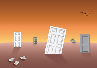 World of doors - abstract apocalyptic concept