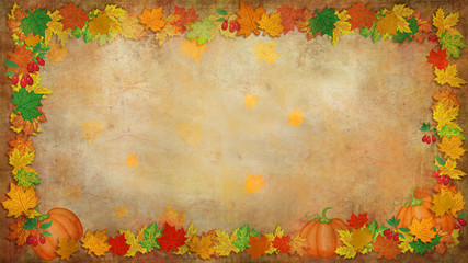 Golden background with colored leaves, fruits,berries.  Autumn.