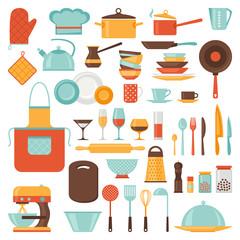 Kitchen and restaurant icon set of utensils.