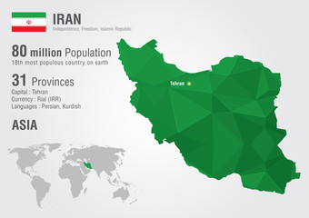 Wall Mural - Iran world map with a pixel diamond texture.