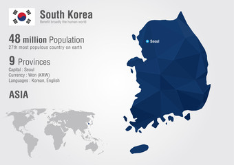 South Korea world map with a pixel diamond texture.
