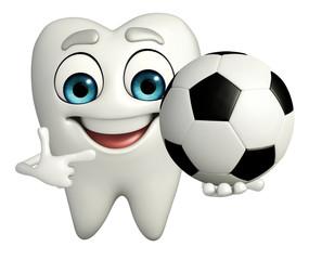 Teeth character with football
