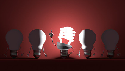 Various light bulbs, moment of insight