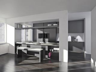 moderne anthrazitfarbene Küche mit Kochtheke