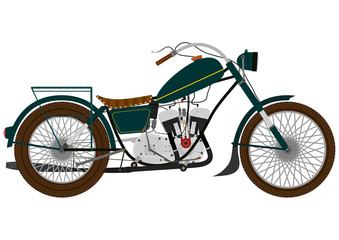Cartoon vintage motorcycle on a white background.