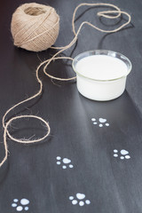 Milky Cat Paw Prints on a Blackboard