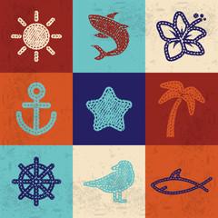 Textile icons set